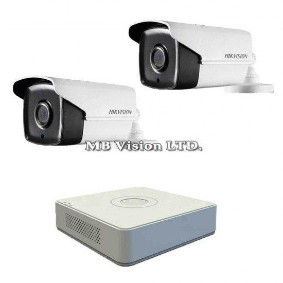 Комплект за видеонаблюдение с 2 Full HD камери + DVR Hikvision