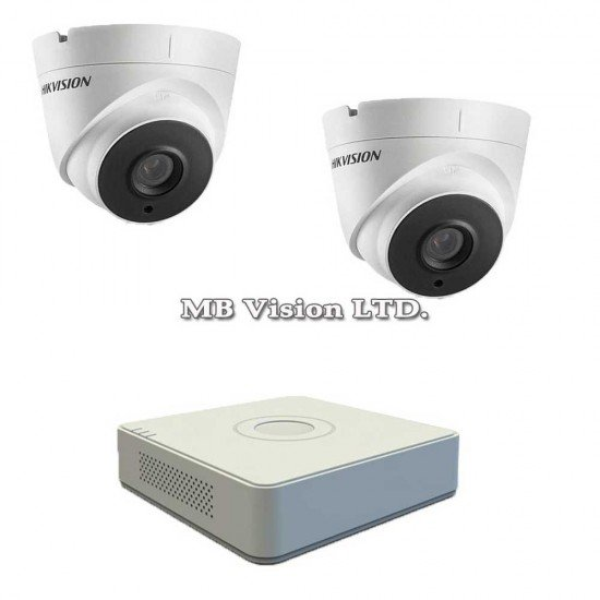 Комплект за видеонаблюдение с 2 Full HD камери и DVR Hikvision