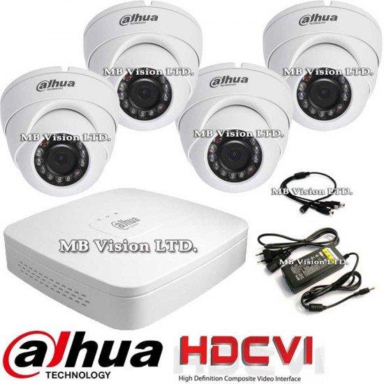 HD-CVI комплект за видеонаблюдение, 4 камери, ДВР