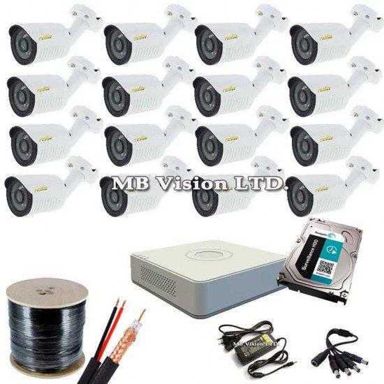 Пълен комплект за видеонаблюдение с 16 HD камери, DVR