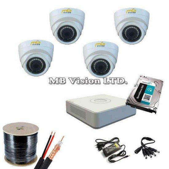 Пълен комплект за видеонаблюдение с 4 камери и ДВР