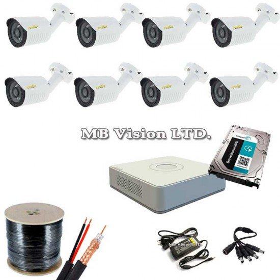 Пълен комплект за видеонаблюдение с 8 HD камери, DVR