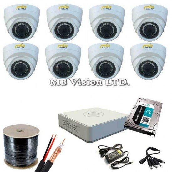 Пълен комплект за видеонаблюдение с 8 HD камери и DVR