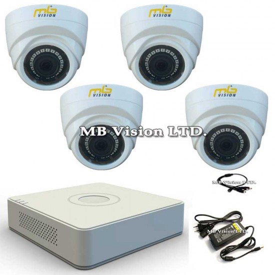 HD комплект с 4 камери за вътрешен монтаж