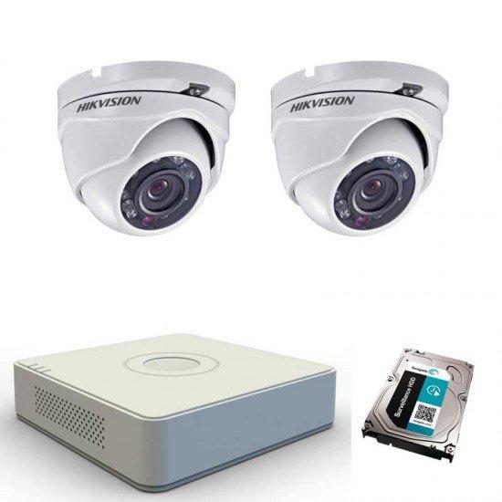 Комплект видеонаблюдение Hikvision с 2 HD камери, DVR, 1TB HDD