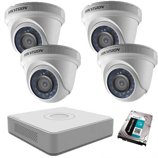 Готов комплект Hikvision с 4 HD вътрешни камери, DVR + 1TB HDD