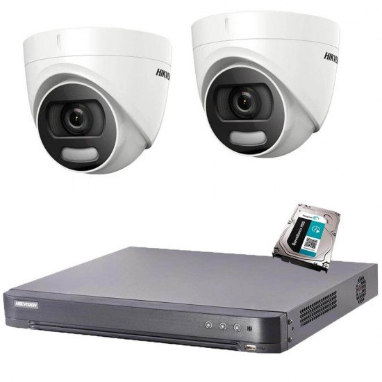Комплект 2MP, ColorVu + DVR Hikvision + HDD