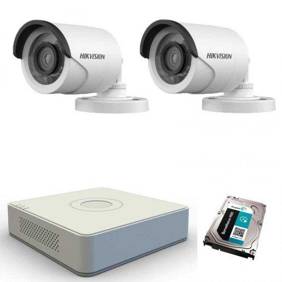 HD система за видеонаблюдение с 2 камери, DVR Hikvision + 1TB HDD